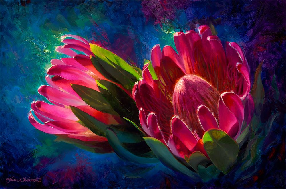 Sunlit Protea - Paper Print of Tropical Flowers by Artist Karen Whitworth