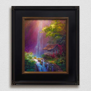 Framed Waterfall painting on canvas by Hawaii landscape artist Karen Whitworth