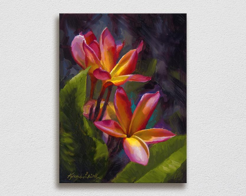 Wall art canvas of tropical Hawaiian Plumeria flower blossoms on a white wall