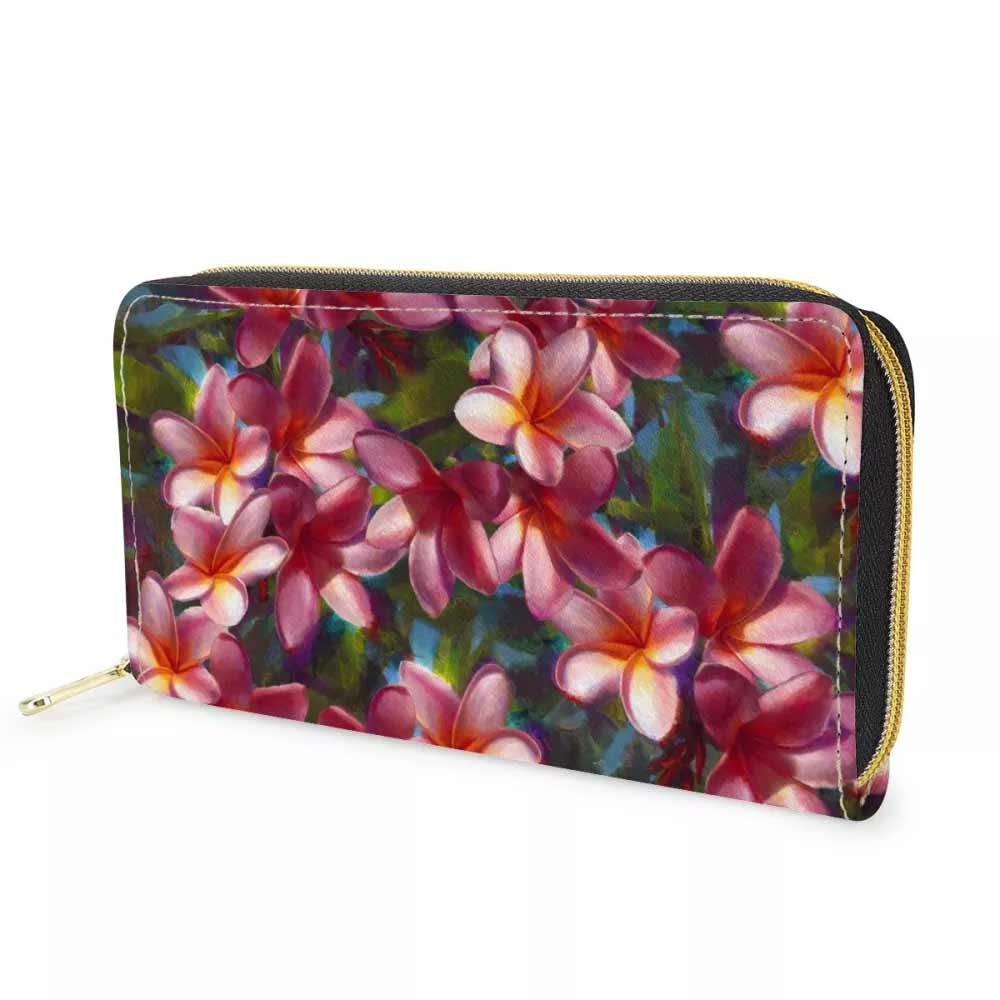 Floral wallet with zippered closure and tropical print flower pattern