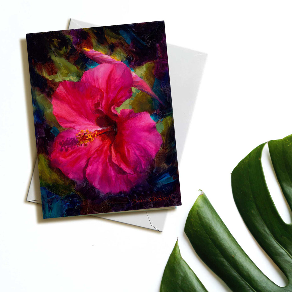 Tropical Hibiscus greeting card with Hawaiian Flowers by Alaska artist Karen Whitworth