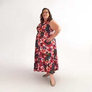Model Wearing Long Maxi Style Plus Size Hawaiian Dresses