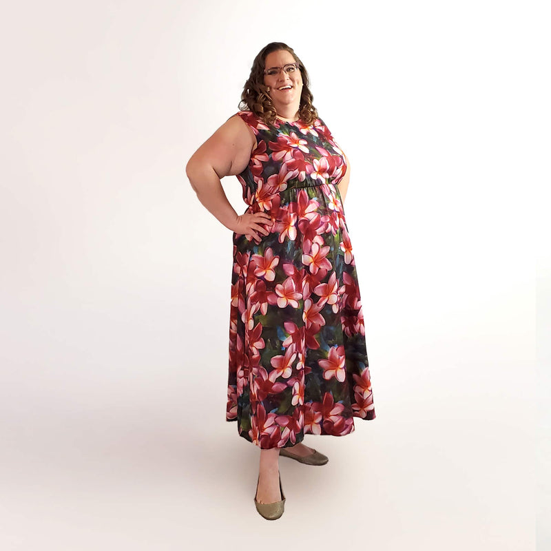 Hawaiian Dresses With Tropical Plumeria Flowers