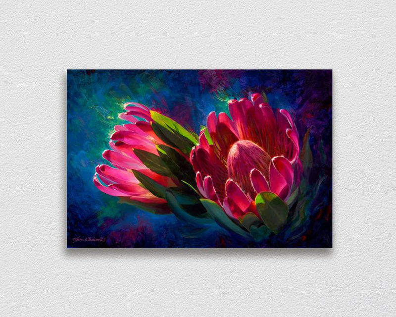 Sunlit Protea - Signed Artist Canvas of Tropical Protea Flower Painting