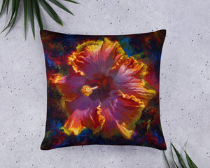 Rainbow Hawaiian Hibiscus Tropical Home Decor Throw Pillow