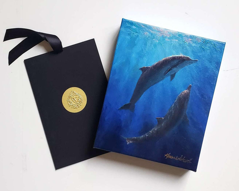 Dolphin canvas wall art painting of 2 Spinner Dolphins underwater in Hawaii with Certificate of Authenticity