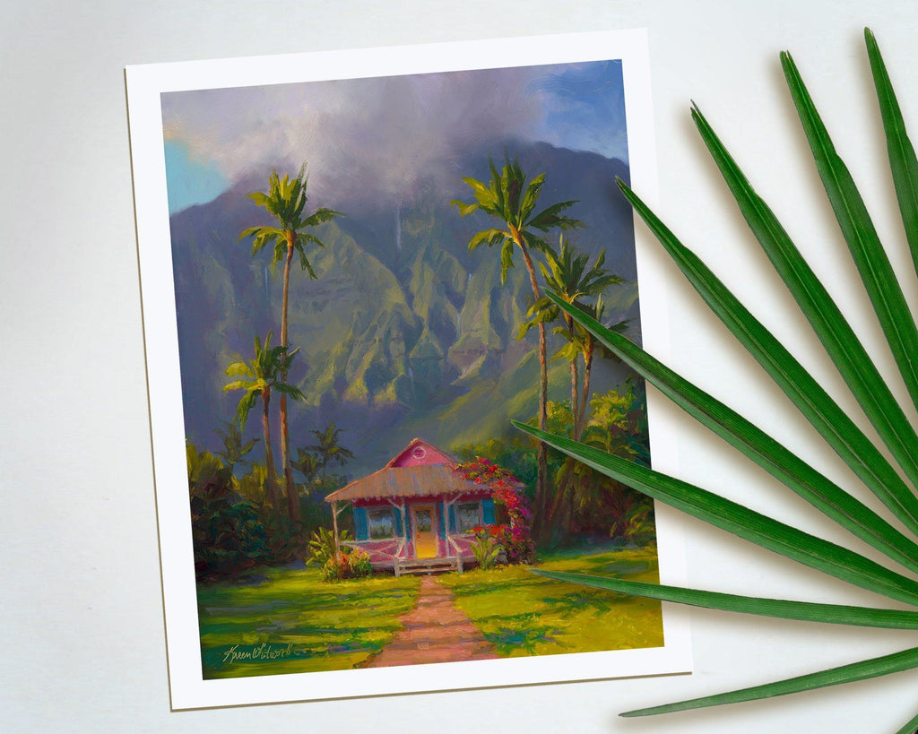Grounded - Paper Print of Tropical Cottage in Hanalei on the Hawaiian Island of Kauai by Artist Karen Whitworth