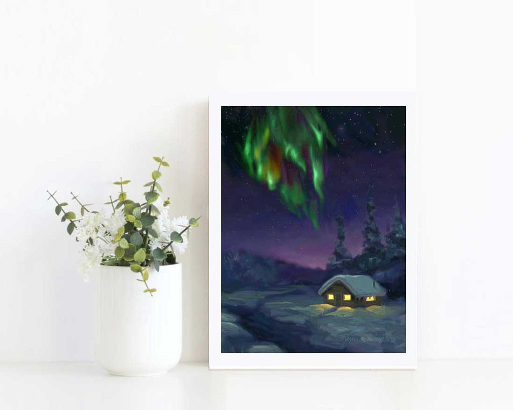 Aurora art print of Northern Lights by Alaska artist Karen Whitworth