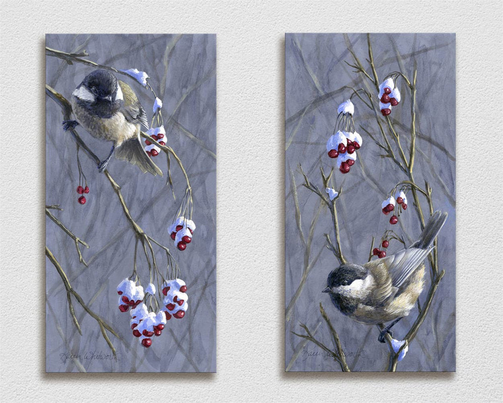Winter Harvest - Chickadee Paintings on Canvas - Matching Set