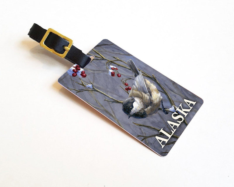Winter Harvest - Alaska Luggage Tags Featuring a Black Capped Chickadee With Red Winter Berries