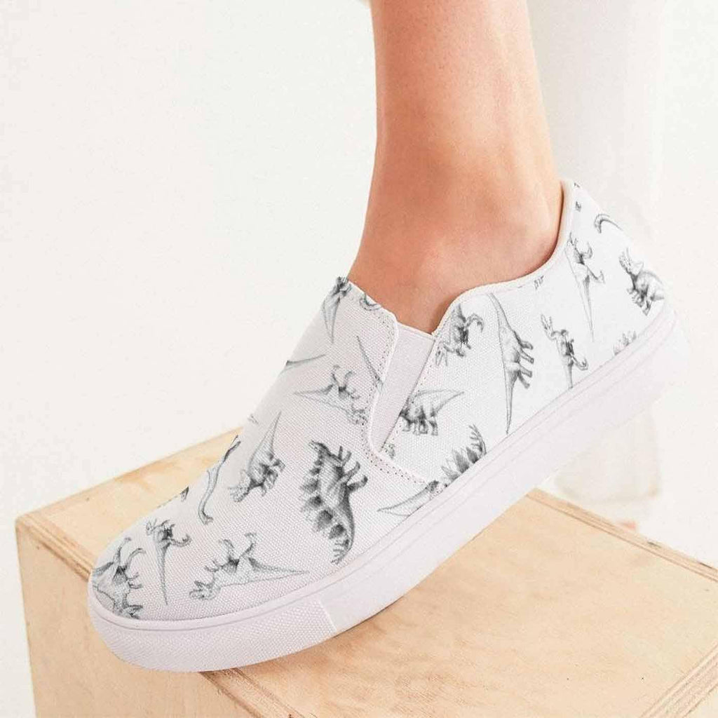 Women's Dino Print Canvas Slip On Sneaker