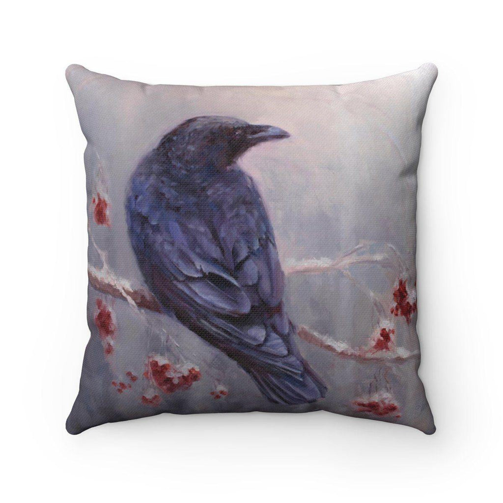 Winter Decor Throw Pillow Featuring a Snowy Forest Behind a Beautiful Black Raven