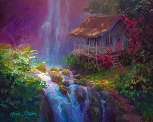 Hawaii canvas of tropical landscape art with waterfall and cottage