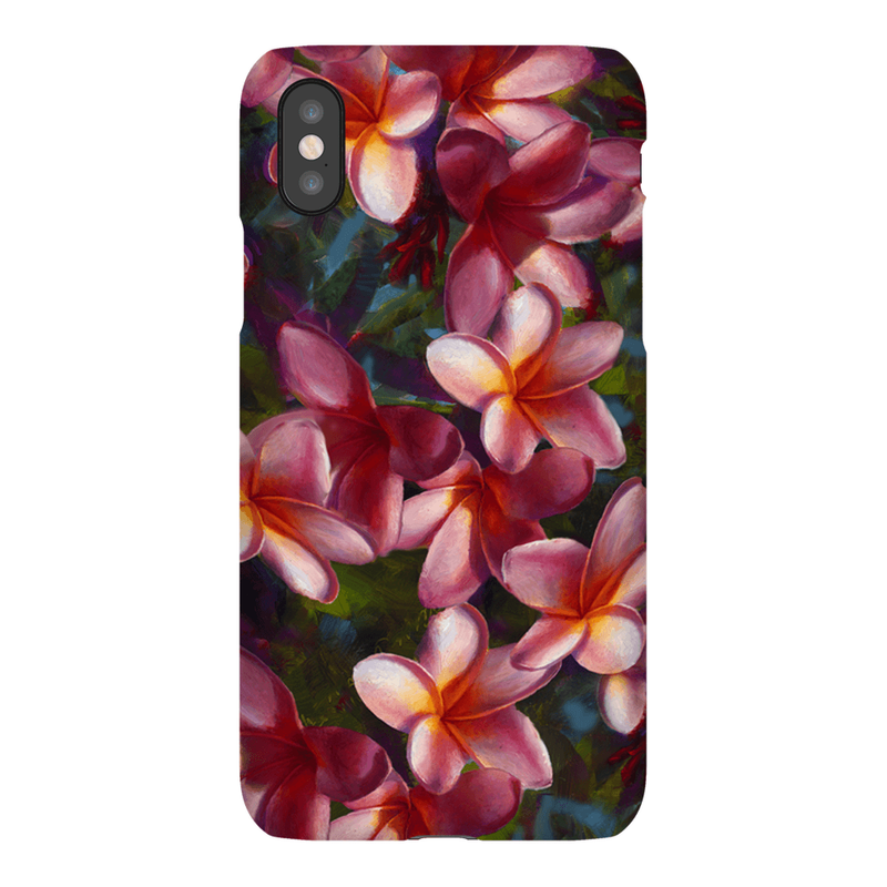 iPhone X phone case with tropical Hawaiian Plumeria Flowers