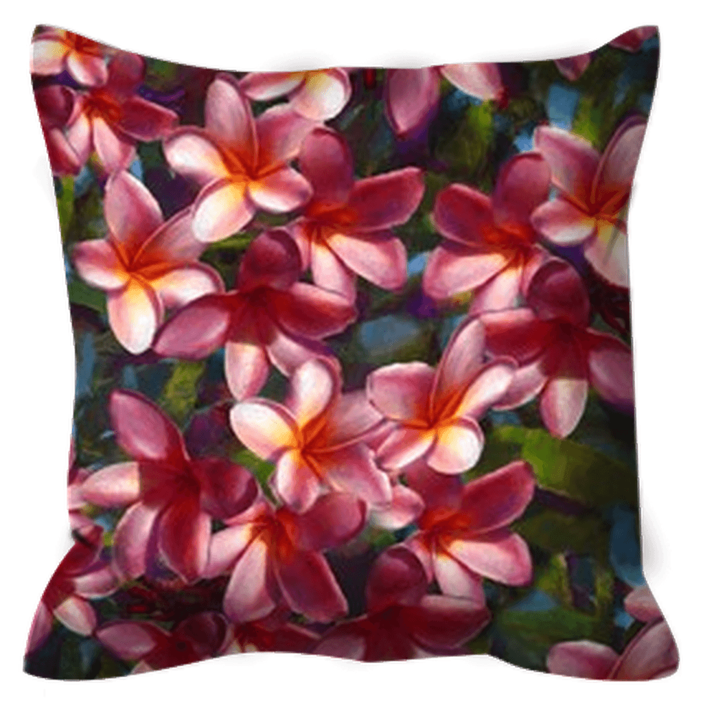 Tropical Outdoor Pillows With Plumeria Floral Print