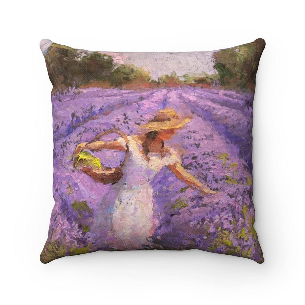 French Lavender Landscape Throw Pillow - Woman Picking Flowers - Rows of Lavender Flowers - Art of Karen Whitworth