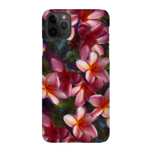 iPhone 11 phone case with tropical pink Hawaiian Plumeria Flowers