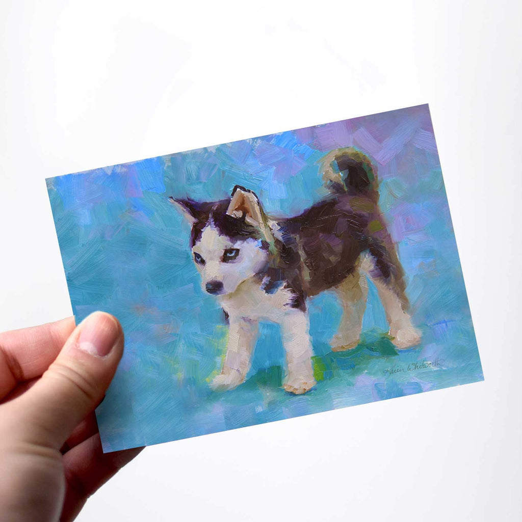 Blue Husky puppy greeting card of Alaska sled dog by Alaska artist Karen Whitworth