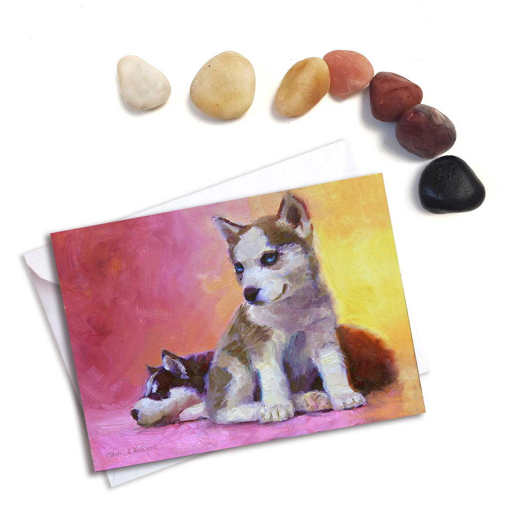 Husky puppy greeting card of Alaska sled dog by Alaska artist Karen Whitworth