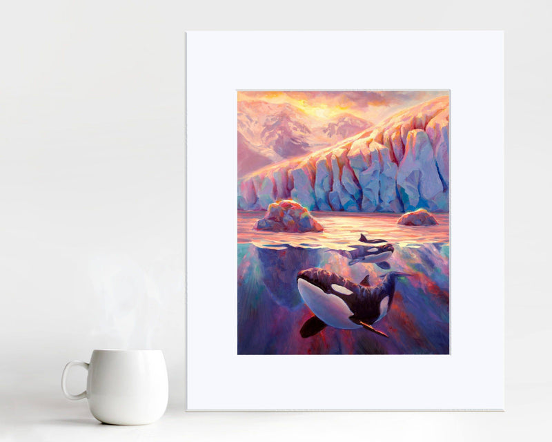Paper wall art print of Orca whales and Alaskan glacier landscape painting by artist Karen Whitworth