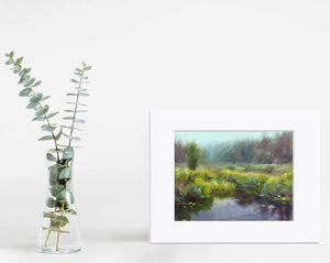 Paper wall art print of green meadow and quiet stream by artist Karen Whitworth