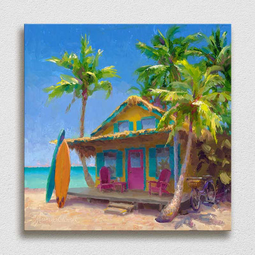 Beach shack and Hawaii beach by tropical landscape artist Karen Whitworth