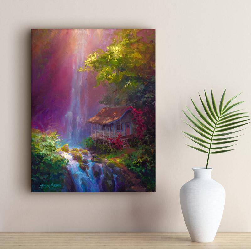 Hawaii canvas tropical art waterfall painting with cottage by Karen Whitworth on wall next to vase