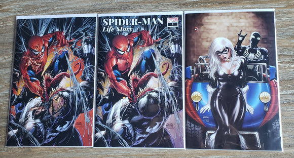 Spider-man life story and Symbiote Spider-man #1 set.