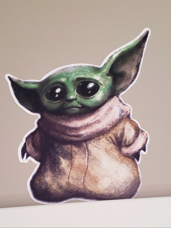 Baby Yoda decal sticker.