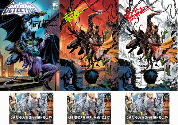 Detective comics #1027 exclusives 3 set signed with coa. (Free shipping in USA)