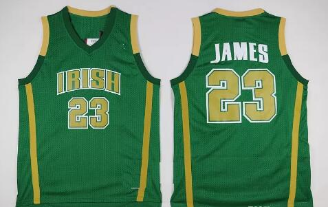 best sneakers 464df d9850 Mens Throwback St. Vincent Mary High School Irish 23 LeBron James  Basketball Jerseys LeBron James Stitched Jerseys