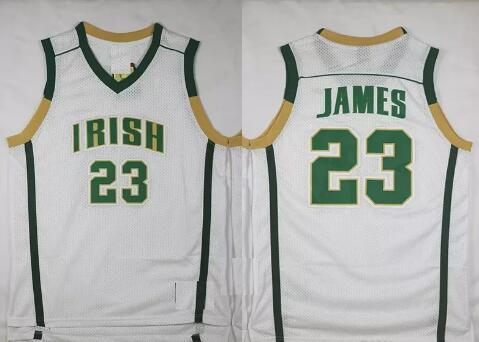 best sneakers c3988 80d7a Mens Throwback St. Vincent Mary High School Irish 23 LeBron James  Basketball Jerseys LeBron James Stitched Jerseys