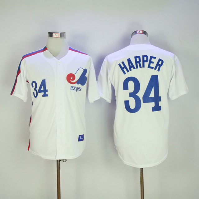 the best attitude be61f 1b741 Bryce Harper Jersey 34 Montreal Expos Baseball Jersey All stitched Retro  Style More Color