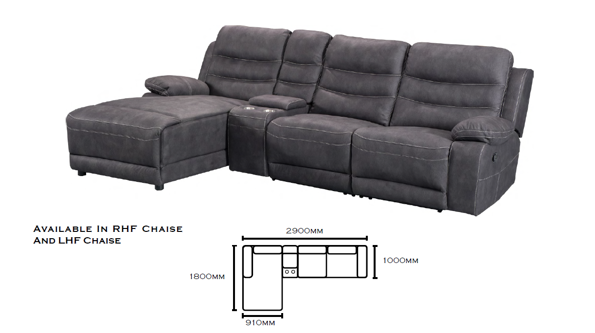 Brooklyn 3 seater Recliner Chaise Lounge