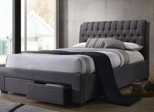 Open image in slideshow, Ecco Upholstered Fabric Bed Frame with Drawers