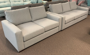 Open image in slideshow, Sandstone 2 & 3 seater Sofa Pair with Dunlop Endurofoam Seat Cushions