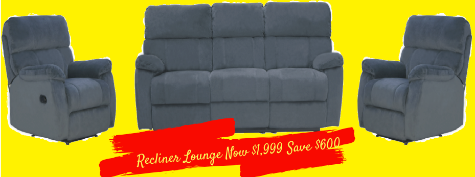 Sydney Plush Fabric Recliner Lounge Suite