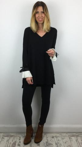 V NECK JUMPER WITH FRILL DETAIL SLEEVE