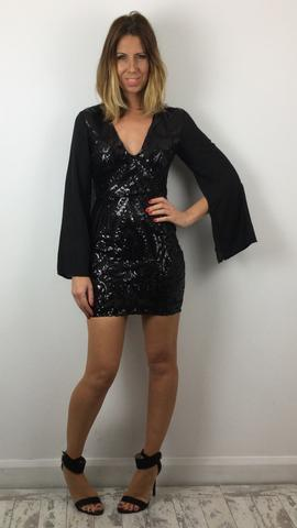 LOVE & OTHER THINGS BLACK SEQUIN DRESS