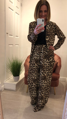 VERA & LUCY LEOPARD PRINT WIDE LEG TROUSERS