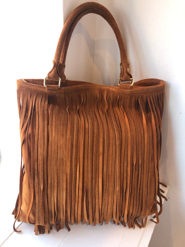 LARGE TAN SUEDE TASSEL BAG