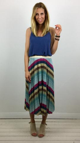 STRIPED FULL PLEATED SKIRT