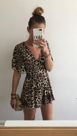VERA AND LUCY LEOPARD PRINT PLAYSUIT