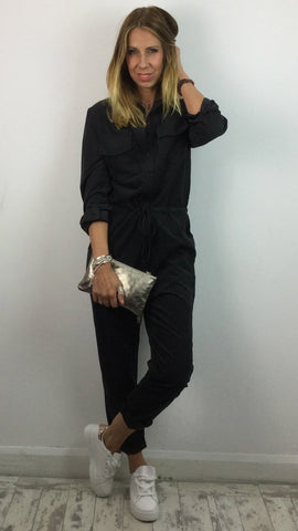 BLACK DENIM JUMPSUIT/BOILER SUIT