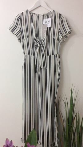 LUCY WANG CREAM & BLACK STRIPED JUMPSUIT