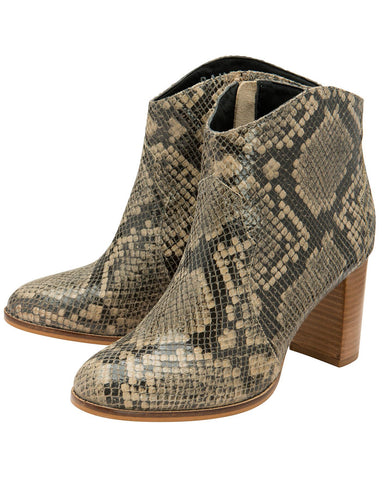 RAVEL FOXTON SNAKE PRINT LEATHER ANKLE BOOT