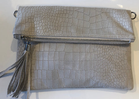 CROCODILE PRINT LEATHER CLUTCH BAG