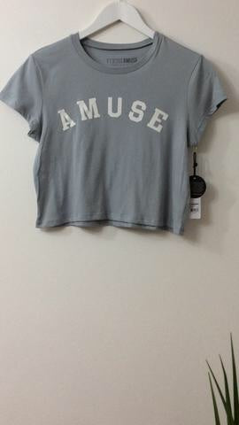 AMUSE SOCIETY GREY SLOGAN T-SHIRT
