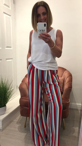 LUCY WANG STRIPED WIDE LEG TROUSERS
