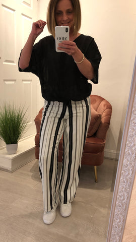 AMUSE SOCIETY BLACK & WHITE STRIPED TROUSERS